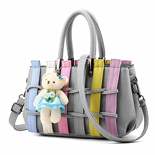 BZLine® Damen Tasche Hit Farbe Leder Umhängetasche Handtasche, 25cm*12cm*18cm Grau
