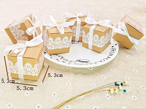 Geschenkbox aus Kraftpapier + Spitze - 2