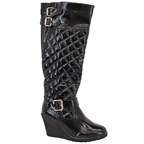 Femmes Bottes Femmes Long Au Dessus Du Genou Chaussures Kelsi Cuir Suédé Look Talon Bloc Hiver Noir - KELSI05
