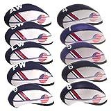Baoblaze 10 Stück Golf Schlägerhauben für Eisen, Nylon Schlägerkopfhüllen Golfschläger Headcover mit Zahl Aufdruck