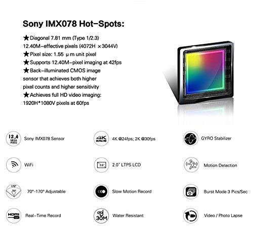 QUMOX SJ5000X Elite 2K 4K 30fps 720p 120fps NTK96660 12M Exmor IMX078cqk Sensor Gyro-Action-Kamera WiFi HD Sports DV Silber - 4
