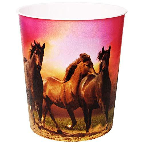alles-meine.de GmbH Papierkorb / Behälter -  Pferde - Wildpferde / Pferd  - 10 Liter - aus Kunststoff - Mülleimer / Eimer - Aufbewahrungsbox für Kinder / Büro - Mädchen - Abfal..