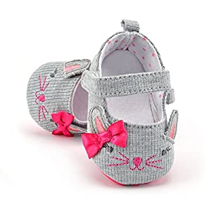 FemmeStopper 15-21 Months(14cm) Cute Baby Girls Shoes First walkers Cotton Grey Cartoon Mouse Soft Sole Baby Prewalkers Baby Shoe