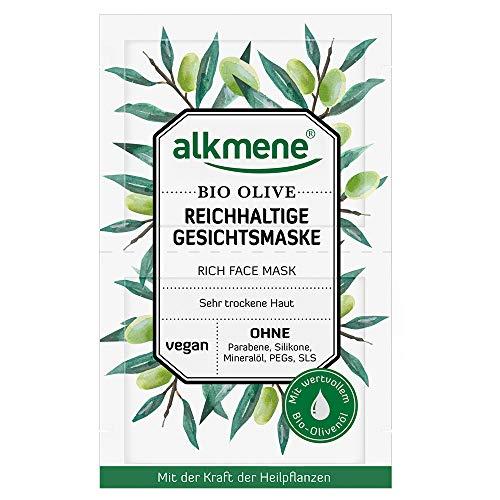 alkmene reichhaltige Gesichtsmaske mit Bio Olive für sehr trockene Haut, 4er Pack (4 x 12 g)