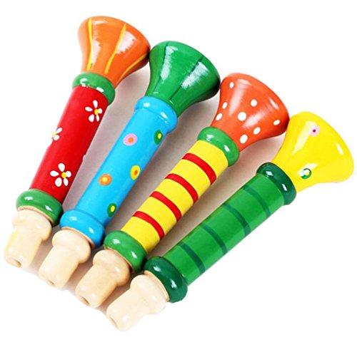 outflower Akkus Kinder Pfeife Trompete aus Holz Musikinstrumente Spielzeug für geeignet für 12Monate oder mehr Baby Musik-Puzzle Der Erziehung frühen Farbe zufällige