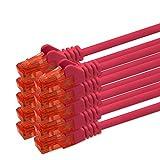 0,25m - rot - 10 Stück CAT 6 Netzwerkkabel Patchkabel 1000 Mbit RJ45 Stecker kompatibel zu CAT5e CAT5 CAT6 CAT7 Dsl Internet Router