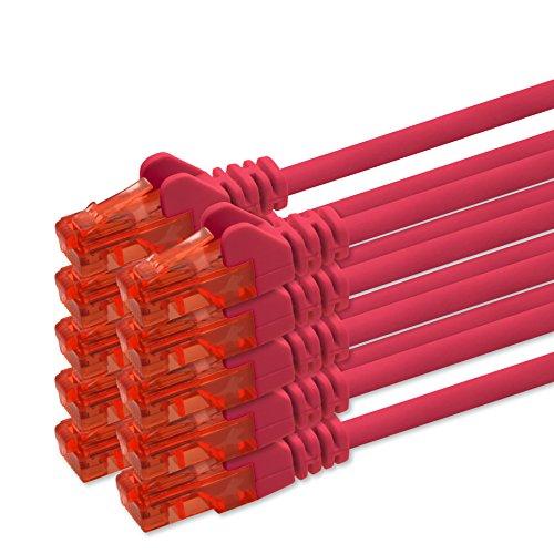 1m - rot - 10 Stück CAT 6 Netzwerkkabel Patchkabel 1000 Mbit RJ45 Stecker kompatibel zu CAT5e CAT5 CAT6 CAT7 DSL Internet Router - Cat5e Rot Patchkabel