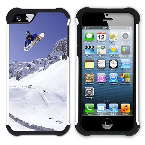 Graphic4You Snowboard Wintersport Schnee Berg Hart + Weiche Kratzfeste Hülle Case Schale Tasche Schutzhülle für Apple iPhone SE / 5 / 5S Design #12