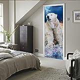 BXZGDJY 3D Wall Sticker Autocollant Art Decor Vinyle Mural Amovible Poster Scène Fenêtre Porte Ours Polaire 95X215Cm
