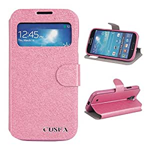 CUSFA Silk Print Pattern PU Leather Protective Case for Samsung S4/i9500 Rose Red