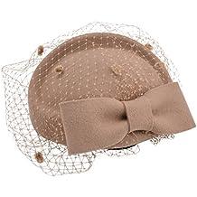 Kapmore Para Mujer Fascinator Sombrero Pillbox Fieltro de las Lanas del Banquete de Boda de Gorras de Velo