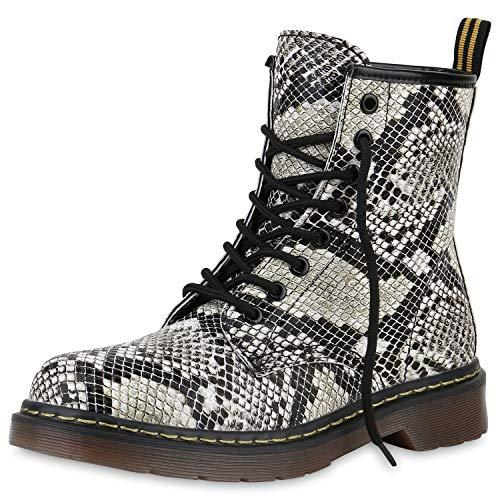 SCARPE VITA Damen Stiefeletten Worker Boots Profilsohle Stiefel Outdoor Schuhe 173516 Weiss Muster 40
