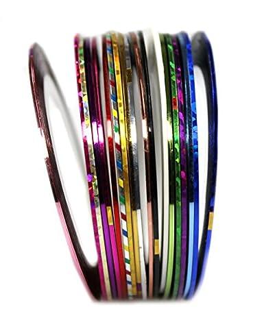 COM-FOUR® Nagelzubehör Nageldesign Modellage Pediküre Maniküre Nail Art Stripes Tape Zierstreifen Packung mit 10 Rollen Striping Tape in verschiedenen Farben (Yarn Dekostreifen - 10