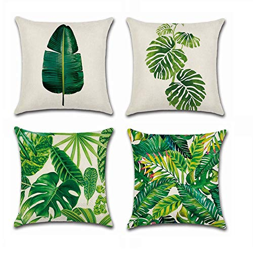 BoomTeck 4 Stück Kissenbezüge Dekorative 45 X 45 cm Kissenbezug Home Sofa Dekokissen Quadratische Kissenbezüge Set Tropische Palme grüne Blätter Muster -