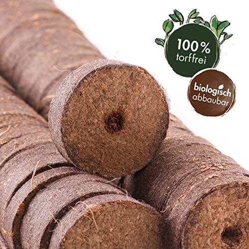 OwnGrown Kokos Quelltabletten mit Nährstoffen - 100 Stück, Kokoserde gepresst zur Pflanzen Anzucht ohne Pikieren, torffrei - Anzucht Erde Kokos