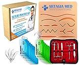Qualitativ hochwertiges Übungsnahset für medizinisches Training, einschließlich Nahtpads aus Silikon mit vorgeschnittenen Wunden und einem kompletten Übungsnahtset (25Teile)