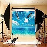 Mohoo 5X7ft Fotografie Hintergrund Hintergrund Studio Foto Props mit Blauer Himmel Meer Thema