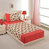 Swayam Printed Cotton Single Bedsheet with 1 Pillow Cover - Red (SBS11-6904)