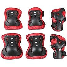 6pcs Juego de protecciones - WinCret Rodilleras Protecciones Infantiles, Codo Muñeca Protección para Multi-deportes: Vespa, Monopatín, Bicicleta, Patinaje