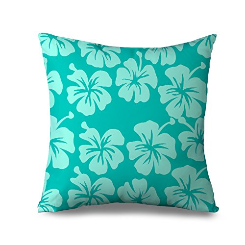 Aqua Kissen Sham für Sofa quadratisch Blume Einrichtungsstil Kissenbezüge 45x 45cm Sofa Kissen abdeckt, günstige Leinwandbild dekorativ Kissen für Couch -
