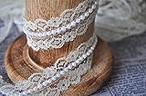 Vintage Stil, mit Spitze und Perlen, Band Bridal Wedding Meterware, 20 mm weiß