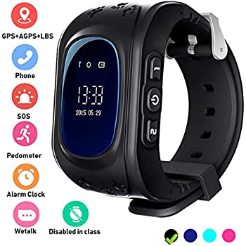 Kids Smartwatch GPS Tracker Anti-Lost Wrist SIM SOS Call Voice Chat Phone Pedometer by Parent Control iOS Android Smartphone App (Palmtalkhome Q50) (Black)