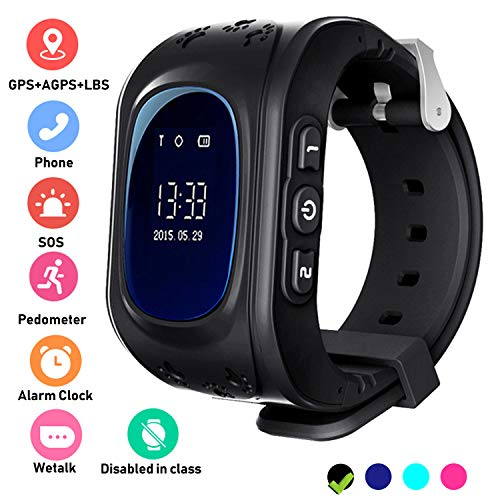 Enfants Smartwatch GPS Tracker - Poignet Montre Garçon Fille avec Anti-Perdu Regarder SOS Appel Chat Vocal Podomètre Réveil GPS Locator Téléphone Cadeaux Compatible avec iOS Android,Noir