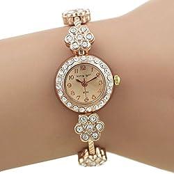 Women's Alloy Crystal Plum Blossom Bracelet Quartz Wrist Watch Rose Gold