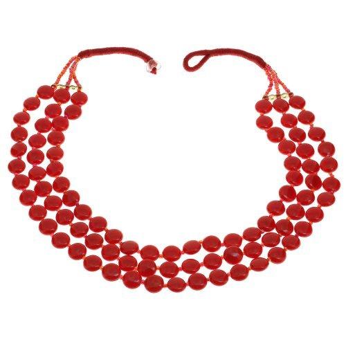 Rote Perlen Halskette Indische Handarbeit Kostüm Schmuck (Kostüme Asiatische Indische)