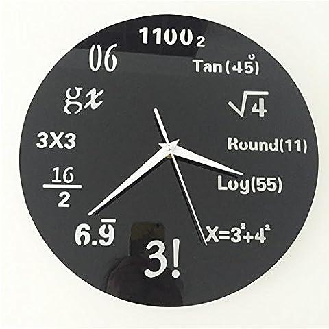 Horloge Murale Ronde Formule Mathématique Rétroviseur Acrylique 3D DIY , black