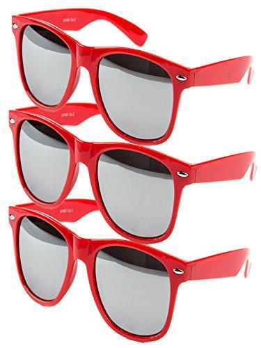Ciffre 3 er Set EL-Sunprotect® Sonnenbrille Nerdbrille Brille Nerd Voll Verspiegelt