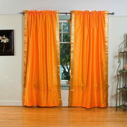 Pumpkin Rod Pocket Sheer Sari Curtain / Drape / Panel - 60W x 108L - Pair