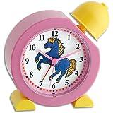 TFA Dostmann Hü-ü-ü-ü väckarklocka för barn, 60.1011.12, med gnäggande hästljud, hästsymbol, hästväckarklocka för barn, rosa