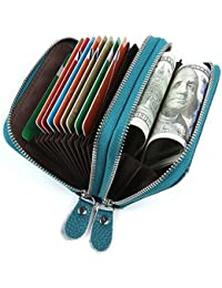 Tarjeteros para Tarjetas de Credito Mujer Hombre Carteras de Mujer Hombre con Cremallera Alrededor con el Bolsillo de la Moneda RFID Cuero