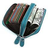 Kreditkartenetui Damen Bunt Echt Leder, Geldbörse Damen Reißverschluss Zip Around Mini Handtasche mit Münzen Tasche RFID Blocking (Blau#2)