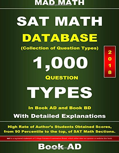 2018 SAT Math Database Book Ad: Collection of 1,000 Question Types (Mad Math Test Preparation)