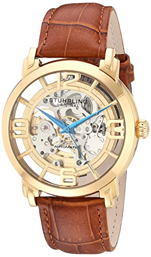 Stuhrling Original Men's 165B2.3335K31 Winchester 44 Automatic Skeleton Goldtone Dial Watch image