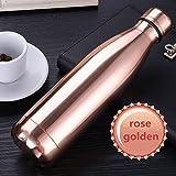 Sept Miracle Thermos en acier inoxydable coloré Bouteille d'eau anti-fuites Sport à double paroi Tasses (500ml), rose gold
