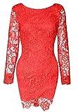 HX fashion Damen Cocktailkleid Kurz Spitze Stitching Chiffon Langarm Rückenfrei Abendkleid Elegant Eng Festlich Vintage 50Er Sommer Abschlussball Ballkleid Kleider