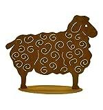 Metallmichl Edelrost Schaf groß 56 x 70 cm Gartenfigur auf Platte rostige Gartendeko