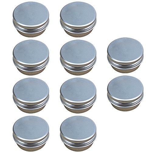 DIY Pot Cosmetique Vide 10PCs, Vococal®10PCS 15G Mini Vide Aluminium Bricolage Maison Voyage Nail Art Lèvre Echantillons Cosmétiques Body Lotion Crème Baumier