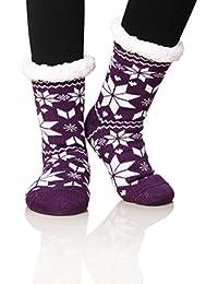 Women's Home Super Soft Warm Winter Fuzzy Snowflake Fleece Lined Crew Slipper Socks