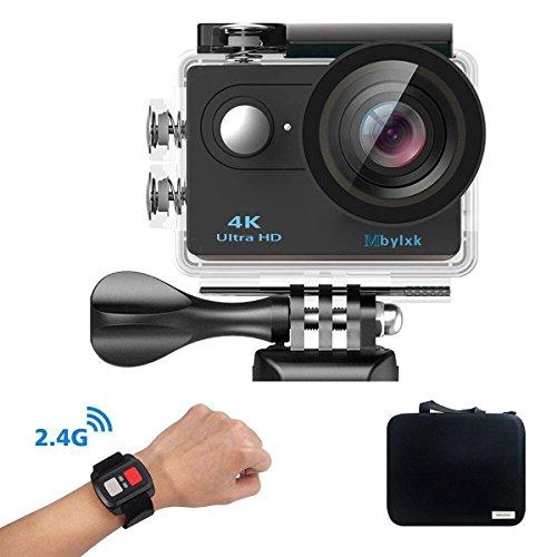 Mbylxk Action Kamera 4K, 2.0 Zoll Eingebautes WiFi Action Kamera wasserdicht 30M, 2.4G Remote Auto-Recorder und kostenlose Accessoires (schwarz)