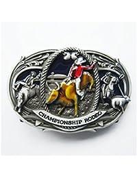 hotrodspirit - boucle de ceinture country bleu cheval vache cow boy west b879d3c1570