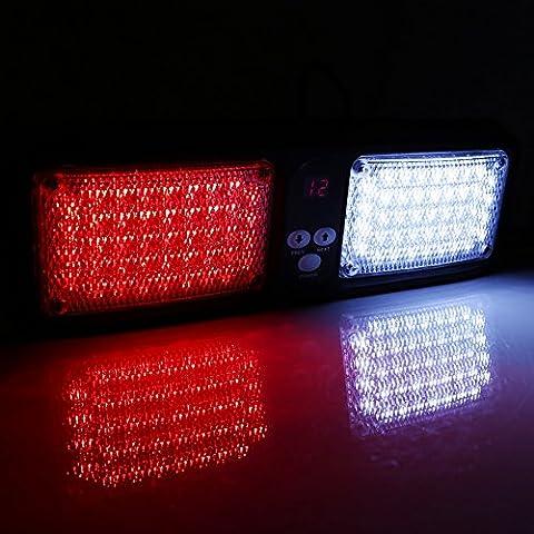 VGEBY Car 12V 86 LED Sun Visor Strobe Flash Light Emergency Hazard Warning Lamp ( Color : Red+White )