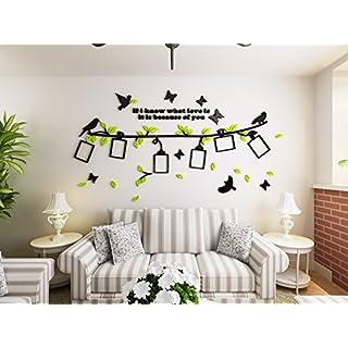 Alicemall 3D Wandtattoo Acryl Wandaufkleber Grün Blätter Schwarz Zweigen mit Bilderrahmen Wohnzimmer Kinderzimmer Sofa Hintergrund Wand Sticker 200 x 103 cm