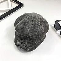 Hat Boina Respirable De La Tabla Ligera del Verano, Señoras Lengua del Pato Gorra Octagonal Sombrero del Visera del Sombrero del Pintor Ocasional Británico Marea,Gris,Un tamaño