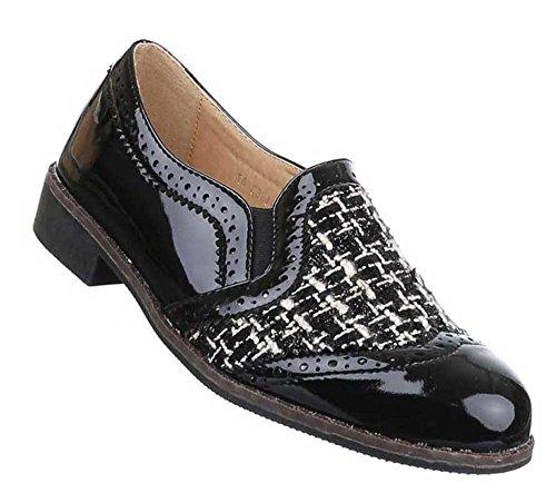 Damen Halbschuhe Schuhe Stretch Slipper Loafers Schwarz Modell 1 Schwarz