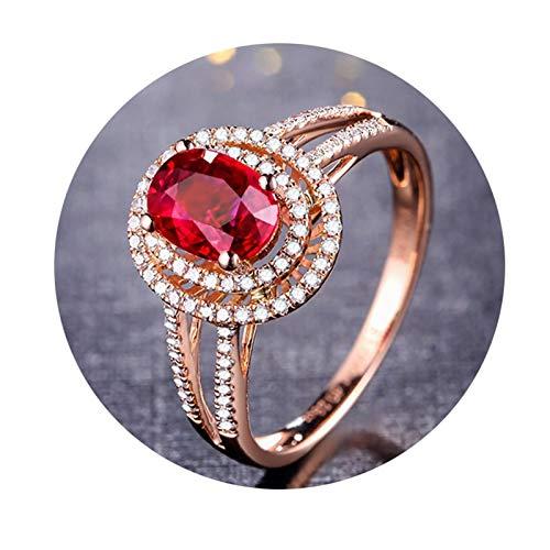 Epinki Donna 18K Oro Rosa Anello 1CT Ovale Rubino Diamante Anello Matrimonio Anelli per Donna Fidanzamento Anello Taglia 8