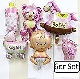 6er Set Folienballons Baby - girl - Mädchen - Luftballons - 6 Stück Geburt Taufe